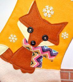 Fox Christmas Stocking in Yellow by Allenbrite di AllenbriteStudio