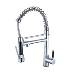 Luxury Deck Mounted Spring Single Handle Kitchen Faucet Pull Down Sink Mixer Tap With Dual Swivel Spout