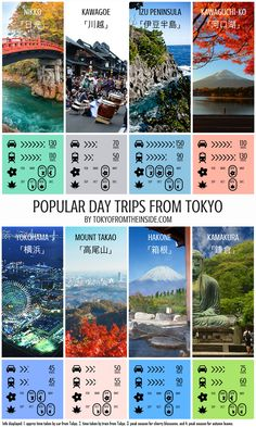 "Check out this ""cheat sheet"" for determining where to go for a day trip from Tokyo! Click to enlarge the image. Photo credits: Kawagoe: http://www.goldenjipangu.com/ Nikko: http://www.samuraitour.com.vn/ Izu Peninsula: http://okidokyo.com/ Kawaguchi-ko: Auttapon Nunti (500px) Kamakura: http://www.lonelyplanet.com/ Hakone: blubugs (trip advisor user)"