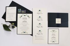 Floral Vintage Wedding Stationery. Using ferns and flowers in blue and green with simplistic fonts. This pocket fold reads like a book! Perfect for any rustic, vintage, modern wedding. Part of the 'LITERATURE' collection by Paper Date.