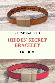 Valentines Gift for Boyfriend Gift Anniversary Mens Gift For Him Birthday Gifts Hidden Secret Message Mens Leather Bracelet Personalized #ad