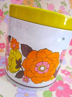 Pink and Yellow Flower Tin