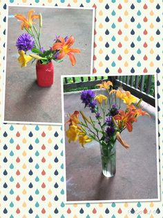 My #DIY bouquets, bring the beauty indoors  (mason jar perfect for kitchen window sills) tiger lillys day lillys and bellflower clusters