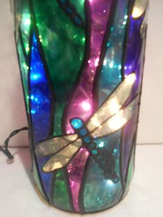 Dragonfly Lighted Handpainted Wine Bottle Inspired Stained Glass look by HillysBoutique on Etsy