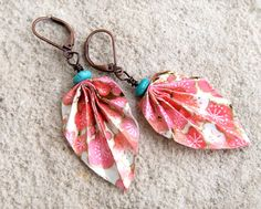 Japanese yuzen chiyogami paper ORIGAMI leaf earrings with antiqued copper leverback ear wire with GIFT BOX