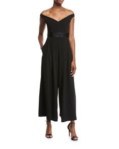 cb28bf375a14 cinq a sept Vina Off-the-Shoulder Crepe Jumpsuit