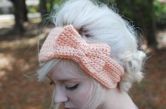 crochet bow headband-I made 2 of these for my daughter (grey; white) one I put buttons to close the other I just sewed the ends together; and 1 for my niece in college...all went over great.