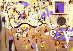 """Cuadro de Joan Miro. """"El carnaval del arlequín"""" entre los años 1924 y 1925  """"Intenté plasmar las alucinaciones que me producía el hambre que pasaba. No es que pintara lo que veía en sueños, como decían entonces Breton y los suyos, sino que el hambre me provocaba una manera de tránsito parecido al que experimentaban los orientales.""""  Ver más http://www.tupaso.com/4114/blog/48337/Joan-Miró-(megapost)"""