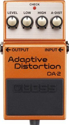 Boss DA-2 Adaptive Distortion Pedal: Smarter than the average effects pedal, Boss' next-generation DA-2 Adaptive Distortion Pedal adapts and responds to your guitar's register and dynamics.