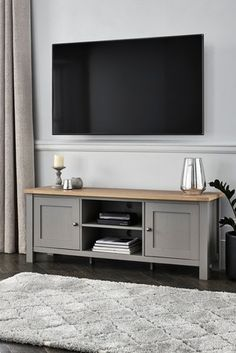 Malvern Wide TV Stand Living Room Lounge, Living Room Grey, Home Living Room, Living Room Designs, Dining Room, Snug Room, Tv Cabinets, Grey Paint, Large Furniture