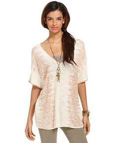Free People Top, Short-Sleeve V-Neck Patterned - Womens Tops - Macy's