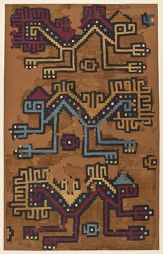 Fragment of a Hanging Peru, South Coast, Nasca, Textiles Colombian Art, The Great Mouse Detective, Peruvian Textiles, Cave Drawings, Mesoamerican, Carpet Colors, Modern Carpet, Carpet Design, Ancient Art