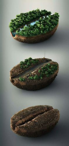 advertising A set of three CGI images showing the effects of deforestation, revealing a coffee bean below. Everything except from the machinery was rendered in Creative Advertising, Advertising Design, Coffee Advertising, Advertising Ideas, Studios D'art, Ad Design, Graphic Design, Layout Design, Earth Day Posters