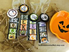 It's Written on the Wall: Halloween Nugget Treats-For Party Favors, Trick-O-Treaters, Teacher Gifts, Lunchbox Treats and You've Been BOOed Treats #CandyWraps