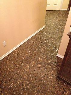 $69 DIY River Rock Pebble Stone Hand Laid Floor !!!!