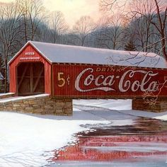 Back home in Indiana with the Coca Cola covered bridge. - Coca Cola - Idea of Coca Cola Country Barns, Old Barns, Country Roads, Country Living, Coca Cola Vintage, Old Bridges, Always Coca Cola, Covered Bridges, Winter Scenes