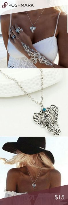 Elephant Pendant Necklace Vintage Elephant Pendant Necklace Jewelry for Women. This is a beautiful piece of jewelry the pendant is so amazing I just love the elephant it's so detailed and with the beautiful gem on it just amazing.  NWT Highest quality products Same Day Shipping Lowest priced Boutique Bundle and Save 15%  Pendant Size:3*3.5cm Length:25*2+5cm Wesale Boutique Jewelry