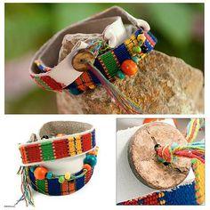 Central American Leather Cotton Wrap Bracelet - Beautiful Guatemala | NOVICA