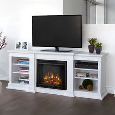 media console with gas fireplace