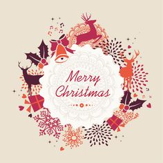 Merry Christmas Holiday Vintage Elements Vector