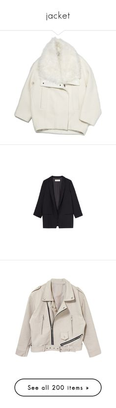 """jacket"" by pmatys ❤ liked on Polyvore featuring outerwear, coats, jackets, coats & jackets, white oversized coat, oversized fur collar coat, leather coat, cocoon coat, oversized cocoon coat and blazers"
