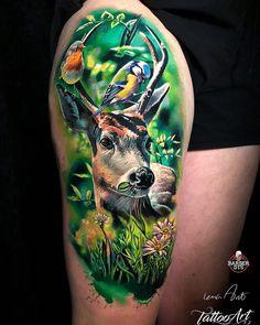 Young deer tattoo by Lena Art Back Tattoos, Sleeve Tattoos, Hirsch Tattoo, Hyper Realistic Tattoo, Tattoo Designs, Deer Tattoo, Colour Tattoo, World Tattoo, Large Tattoos