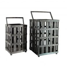Set of 2 Square Wood Baskets made by Metal Works.