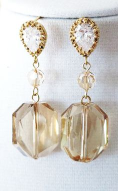 Kathia Gold Swarovski Crystal Earrings