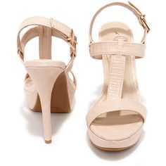 Ballroom Bliss Peach Lizard High Heel Sandals ($36) ❤ liked on Polyvore featuring shoes, sandals, dress sandals, adjustable strap sandals, strappy dress sandals, t strap shoes and vegan sandals