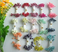 Tina's handicraft : Stamens flower making Nylon Flowers, Tissue Flowers, Crepe Paper Flowers, Clay Flowers, Silk Flowers, Fabric Flowers, Fabric Butterfly, Fondant Flowers, Yarn Crafts