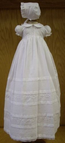$130 Will'Beth Gorgeous Heirloom Christening Gown Bonnet Set
