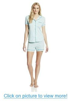 Nautica Sleepwear Women's Teal Dot Short Pajama Set