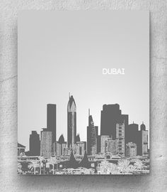 Dubai United Arab Emirates Skyline Poster / Destination Travel Art Poster / Any City or Landmark. $20.00, via Etsy.