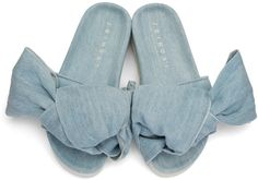 Joshua Sanders - Blue Denim Bow Slide Sandals