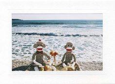 Sock Monkey card Picnic at the Beach by sockmonkeycards on Etsy, $3.50