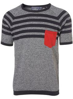 Yoke Strip Knitted T-Shirt from Topman
