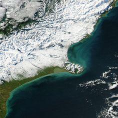Fresh snowfall around Christchurch, New Zealand on June 7, 2012.