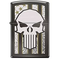 Zippo Custom Design Punisher Skull with Flag Background Reg Blk Ice Windproof Collectible Lighter. Made in USA Limited Edition & Rare