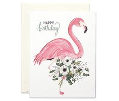 Flamingo with Bouquet Happy Birthday Blank Greeting Card by Sagebrushed