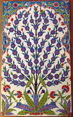 - Firmament of the Garden hand painted Turkish floral art wall tiles Painting Ceramic Tiles, Tile Art, Wall Tiles, Cultural Architecture, Mughal Architecture, Madhubani Art, Islamic Wall Art, Turkish Art, Hand Painted Ceramics