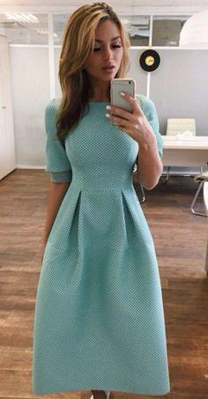 Green Polka Dot Collarless Round Neck Elbow Sleeve Maxi Dress