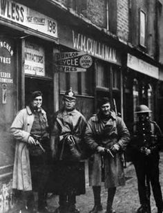 The Crown Forces: Dublin Metropolitan Policeman stands between two Auxiliaries, to the right a British soldier. Ireland 1916, Dublin Ireland, Ireland Map, Irish Independence, Northern Ireland Troubles, Irish Republican Army, Dublin Street, Michael Collins, Photo Engraving
