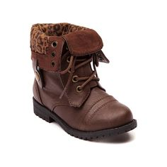 Shop for Toddler Sarah-Jayne Janet Combat Boot in Brown at Journeys Kidz. Shop today for the hottest brands in mens shoes and womens shoes at JourneysKidz.com.Gather the troops for the epic new Janet Combat Boot from Sarah-Jayne! The Janet is a lace up military inspired boot boasting edge and attitude with a synthetic leather upper, lace up closure, button down shaft lined with cheetah printed textile, reinforced heel and toe box, and rubber lug outsole for traction and durability. Available…