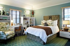 room House of Turquoise: Kristen Panitch Interiors Blue Bedroom Colors, Blue Brown Bedrooms, Boys Room Blue, Brown Rooms, Bedroom Green, Blue Green Bedrooms, Bedroom Colors, Interior Design, Bedroom Color Schemes
