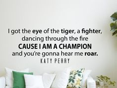 "Katy Perry Roar Quote Inspirational Wall Decal Home Décor ""I Got the Eye of the Tiger"" 42x16 Inches"