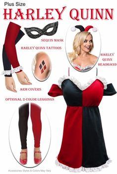 fe11c629640 Plus Size HarleQuin Dress + Harley Quinn Halloween Costume Accessories -  Deluxe Kit Lg XL 0x 1x 2x 3x 4x 5x 6x 7x