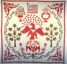 The quilt below, also from the Quilt Index, is from the Illinois State Museum. How many stars? 29 above the eagle, 6 in the gold field below and 2 below that = 37 in all plus 4 in the flag at the top Barbara Brackman's MATERIAL CULTURE: Six Eagle Quilts