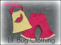 Watermelon Yellow and Hot Pink Polka Dot Capri and Halter Top