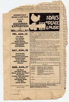 Original Woodstock ads show how much of a slipshod operation the whole thing was Woodstock Music, Woodstock Festival, Beatles, Rock Festival, Vintage Concert Posters, 60s Music, Dangerous Minds, Summer Of Love, Newspaper