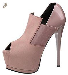 Passionow Women's Fashion Sexy Peep Toe Elastic Extreme Super High Heel Hidden Platform Pumps Shoes (7.5 B(M)US,Khaki) - Passionow pumps for women (*Amazon Partner-Link)